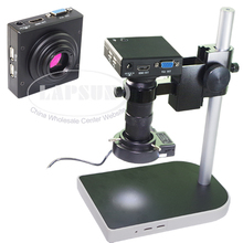 100X Measure Full HD 1080P HDMI VGA Dual Output Industrial Microscope Camera Lens U Disk Storage Picture Mouse Operation Stand