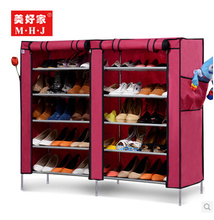 Deep Purple non-woven fabric dustproof and wet proof two- double utility shoes cabinet storages racks folding(China)
