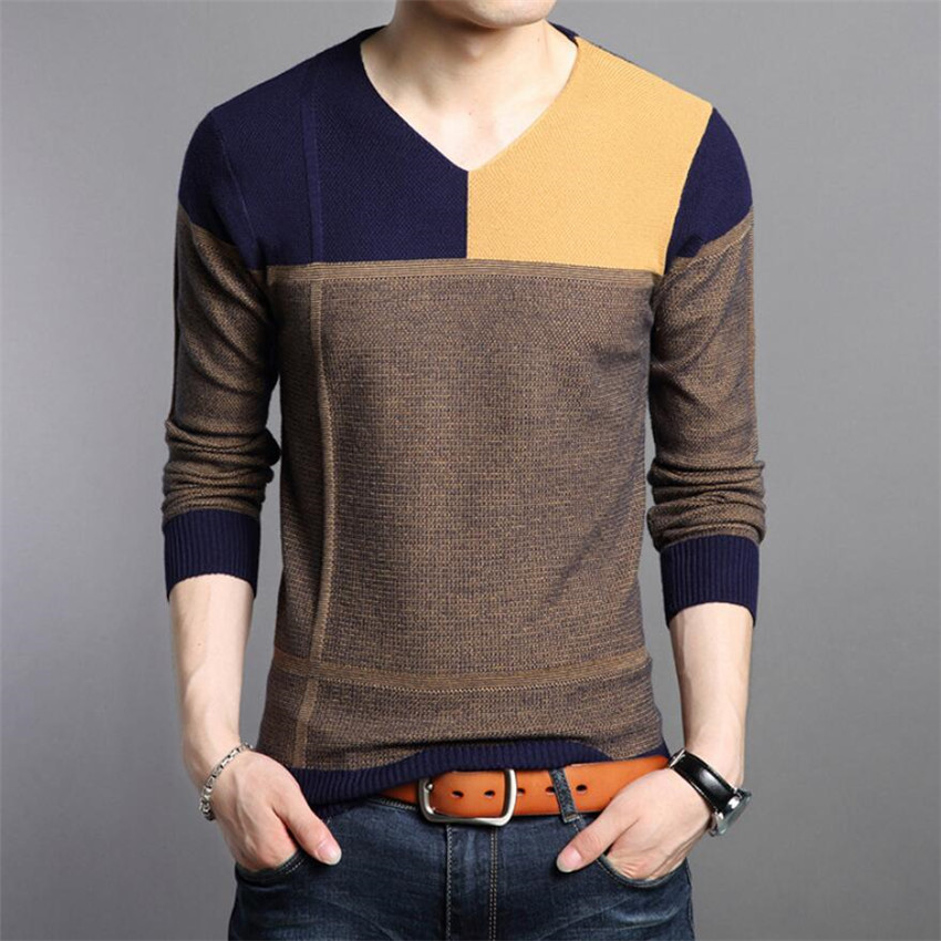 Sweater Men 2018 Arrival Casual Pullover Men Autumn V- Neck Patchwork  Knitted Brand Male Sweaters  M2338 M -XXXXL