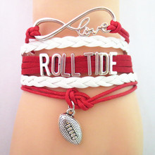 SANDEI fashion Infinity Love RollTide football college Team Bracelet red white Customized Wristband friendship Bracelets B09197(China)