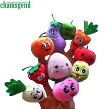 CHAMSGEND 10pcs Finger Hand Puppets Plush Toys For Kids Fruits vegetables Finger Gloves puppets baby reborn dolls Toy Gift Oct1