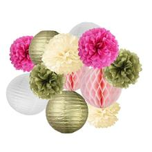 12pcs Paper Fan Lanterns Paper Honeycomb Balls Pom Poms for Birthday Wedding Party Decoration