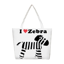 Women printing canvas High capacity Shoulder bag White zebra(Style 3)