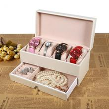 Watch Box High Grade 4 Slot Leather Watch Storage Box Case With Drawer Jewelry Organizer Container