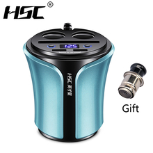 HSC Cigarette Lighter Car Splitter Car Charger for iPad iPhone Socket 3.1A 12-24V USB Blue Cup S Shape Adapter For Laptop(China)