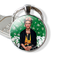 Frida Kahlo Keychain Bag Pendant Cabochon Glass Dome Key Metal Chain Ring Artist Gift(China)