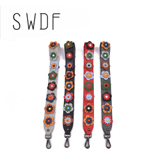 SWDF Flower Women Bag Strap Boho Style Summer PU Straps For Bags Elegant Lengthened Replacement Shoulder Straps