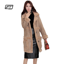 Fitaylor 2017 New Winter Coat Women Long Suede Jacket Lapel Warm Parkas Patchwork Coats Women Lamb Wool Motorcycle Parka Jaqueta(China)