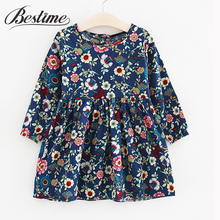 3-7y Children Clothes Girls Dress Autumn Long Sleeve Floral Dress for Kids Fashion Cotton Dress Drop Shipping Children Dress