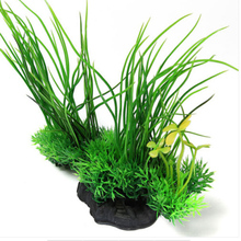 1pcs Artificial Plant Grass Plastic Green Underbrush Aquarium Decorations Aquatic Pet Supplies 20x18CM Wholesale(China)