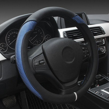 New Leather Steering Wheel Covers Durable Breathable Comfortable Car Steering Wheel Cover Fits 38cm Car Accessories(China)