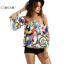 COLROVIE Women Summer Shirt Off The Shoulder Graffiti Printed Top Multi Color Three Quarter Length Sleeve Blouse
