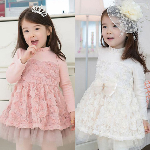 Free shipping Hot-selling  Spring girl rose decoration long-sleeved dress<br><br>Aliexpress