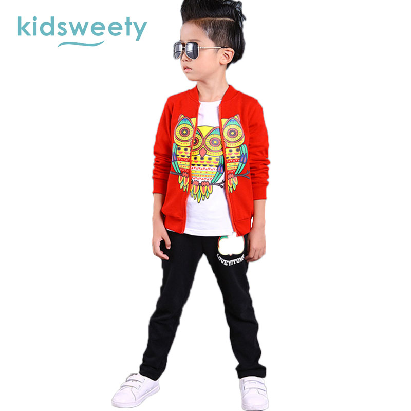 Kidsweety Boys Suits Cotton Owl Pattern Long Sleeve T-Shirt Coat Pants 3 Sets Zipper Closure Pocket Child Print Casual Boy Suits<br>