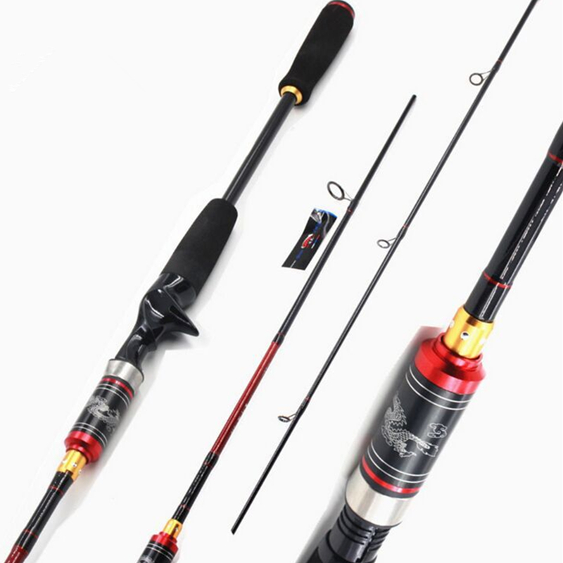 99% Carbon Portable Fiber Lure Fishing Rod 2.1M 2 Section M Power Carbon Fiber Spinning/Casting Travel Rod 7-28g Fishing Tackle<br>