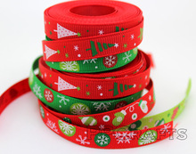 Red/Green Mixed Christmas Design 3/8 inch 9MM Grosgrain Ribbons Tree/ Snow/ Letters print, Christmas decorative Free shipping(China)