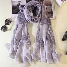 [SLKSCF] 180X70CM Fashion Lace print silk scarf real real silk satin pashmina top quality pure silk scarves and shawl