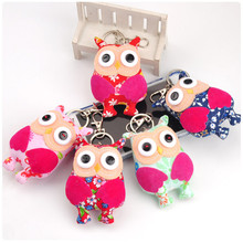 Korean Fashion Night Owl Cloth Plush Toys Button Owl Dolls Bag Phone Pendant Key Chain Ring 10cm 10pcs/lot