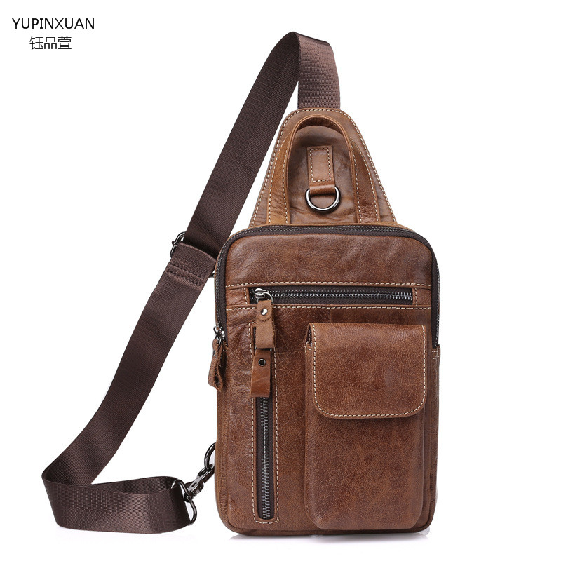 YUPINXUAN Men Chest Pack Single Shoulder Strap Back Bag Leather Travel Men Crossbody Bag Vintage Rucksack Chest Bag Real Leather<br>