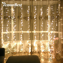 3*3m 300-LED Curtain Light Fairy Christmas Decorations for Home Party Wedding Outdoor Indoor String Lamp with Pendant Warm White(China)