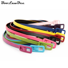 BooLawDee Women fashion simple pu leather thin narrow belt 105*1.0 cm knotted multiway yellow red orange pink blue A41053