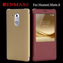 Cenmaso Mate 8 phone case for Huawei mate 8 ultra thin cover mate8 flip leather smart open window view hard back conque funda(China)