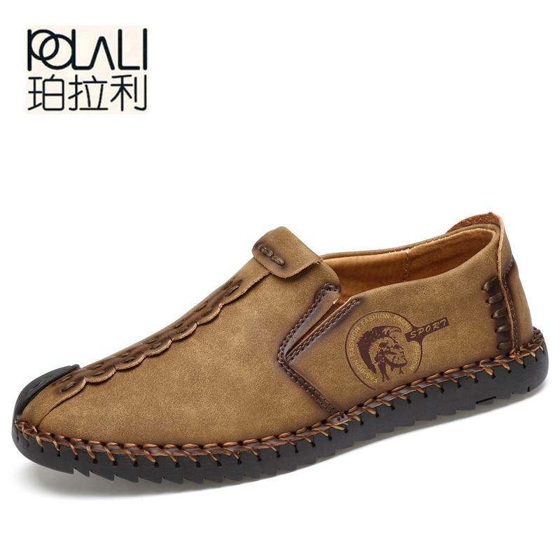 POLALI 2017 New Comfortable Casual Shoes Loafers Men Shoes Quality Split Leather Shoes Men Flats Hot Sale Moccasins Shoes
