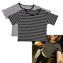 Sexy Women T Shirt Crop Top Striped Short Sleeved O-Neck Club Wear Tops F05(China)