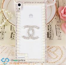 Cheap Pearl Lace bling bling Crystal handmade diamond Mobile phone Hard case back cover For huawei ascend p6 case fundas carcasa