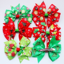 6pcs/lot 3inch Christmas Ribbon Bows without Clip for Christmas Party Decoration Boutique Ribbon Bows for Christmas
