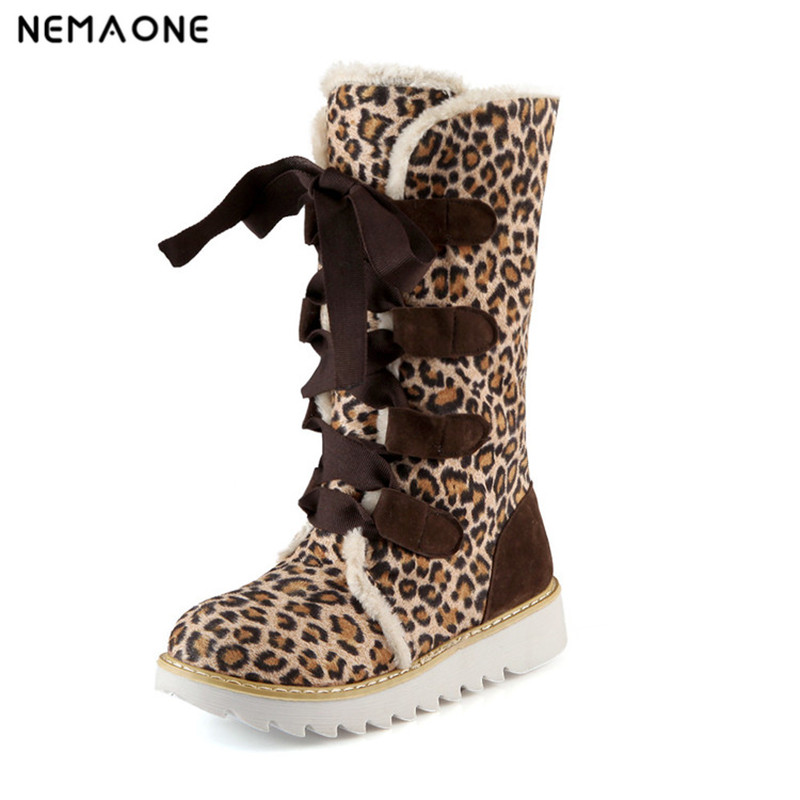 NEMAONE women winter ankle boots shoes women fashion short Snow boots women warm fur leather boots rubber boots 11 12 43<br>