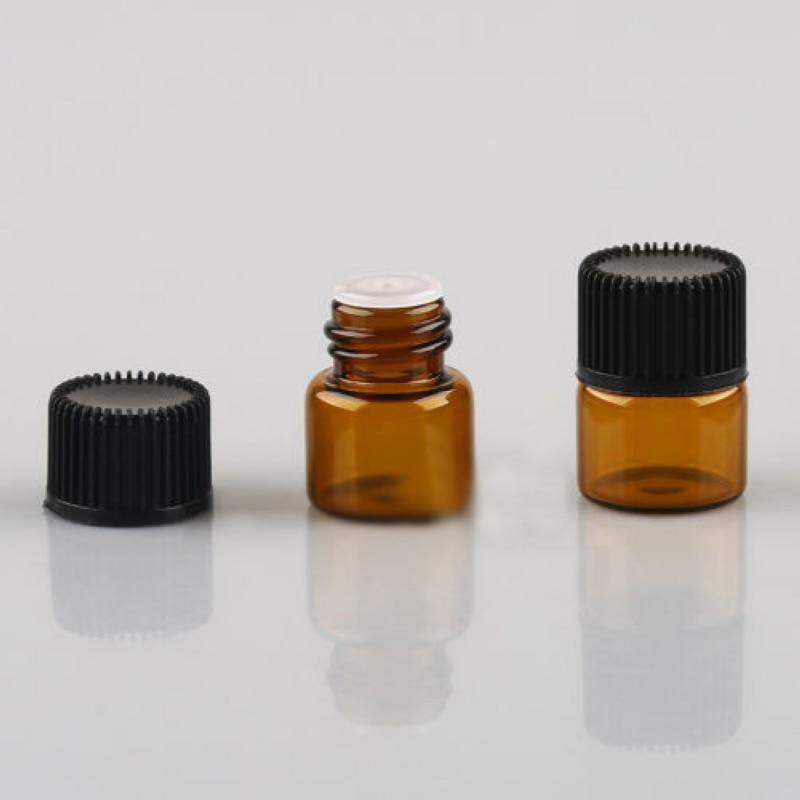 Mayitr 100pcs Mini Empty Essential Oil Bottle Amber Glass Bottle For Oil Perfume 1ml Refillable Bottles