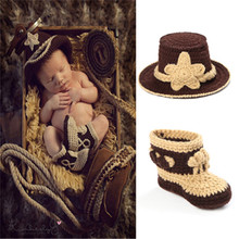 Western Cowboy Hat Beanie Boots Set Infant Newborn Photography Photo Prop Handmade Baby Shower Gift Newnorn Outfits MZS-14026