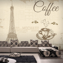 Free Shipping 3D France Paris Eiffel Tower retro mural Bar Cafe wallpaper