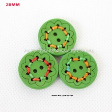"(100pcs/lot) green wooden bulk button sewing buttons  25mm,1""-BY0148I"