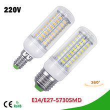 1Pcs 2015 Full NEW LED lamp E27 E14 3W 5W 7W 12W 15W 18W 20W 25W SMD 5730 Corn Bulb 220V Chandelier LEDs Candle light Spotlight