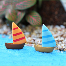 4pcs Nautical Sailboat Beach Crafts Fairy Garden Miniatures Terrarium Figurines Bonsai Aquarium Jardin Decor home accessories(China)
