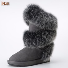 INOE new style fashion real fox fur women high winter snow boots sheepskin suede leather sheep fur lined winter shoes black grey(China)
