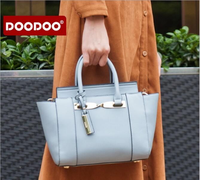 Original DOODOO Famous Brands FR423 Messenger Bags PU Leather Tote Bag Trapeze Shoulder Bag  Handbag Crossbody Bags For Women<br>