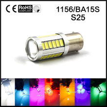 2pcs BA15S P21W 1156 LED Day Light Bulb 33-SMD 5630 12V White Ice Blue Pink Green Yellow Red amber