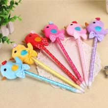 1pcs plush color chickens ballpoint pen Korean Style Ball Pen Promotion Gift Fashion office and school supplier(China)
