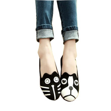 Hot Cartoon Flat Shoes Woman Cute Cat Dog Slip On Casual Women Shoes Spring Summer Ladies Flats  Plus Size 35-41 WSH2107