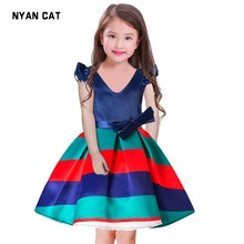 Retail Wholesale New kids girls dress and high-Quality V Collar Leap sleeve stripes Holoday Dress factory direct 100-160