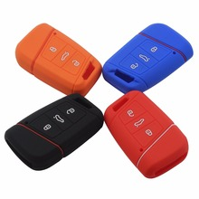20p 3 BTNS Remote Silicone Car-Styling Key Fob Cover Case Holder For Volkswagen VW Magotan Passat B8 Skoda A7 Smart Keychain