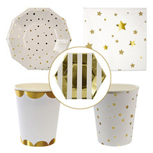 52pcs/lot Gold Silver Stars Lovely Disposable Plates and Cups for Birthday Wedding Party Decorations Flat Paper Dinnerware Set(China)