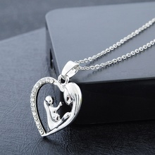1 pcs Fashion Women Chain Necklace Pendant of Inlaid Zircon Mother Child Heart Shape Necklace collar mujer