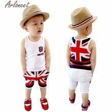 2017 FASHION Kids Baby Boys Union Jack Outfits Vest Tops Pants Set Clothesed T-shirt And Pants Suits(China)