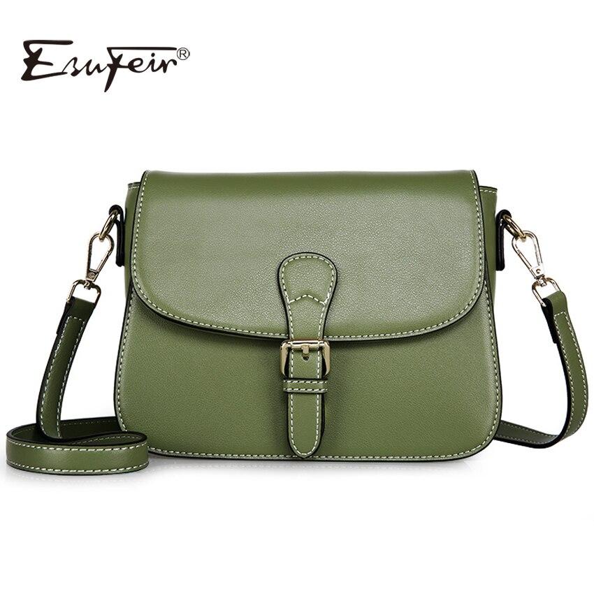 ESUFEIR 2017 Genuine Leather Women Messenger Bag Famous Brand Designer Flap Bag Single Shoulder Bag Fashion Women Crossbody Bag<br>