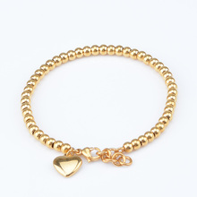 1pcs 18cm 4mm Girls Womens Yellow Rose Silver Tone Gold Color Chains Stainless Steel Beads Bracelet Heart Brand Jewelry