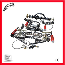 Four wheeled vehicle, kart, front and rear suspension parts, front axle, rear axle, differential rear axle assembly
